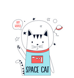 Hand drawn space elements astronaut cat vector