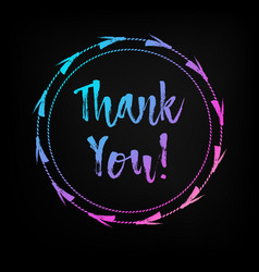 hand lettered multicolored thank you text vector image