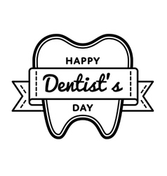Happy Dentists Day greeting emblem vector