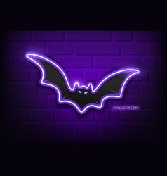 happy halloween bat neon light purple on block vector image