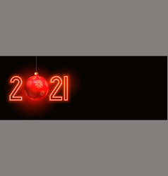 happy new year 2021 red neon background vector image