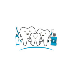 Healthy teeth family smile and happy dental care vector
