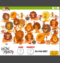 How many lions and monkeys educational task vector