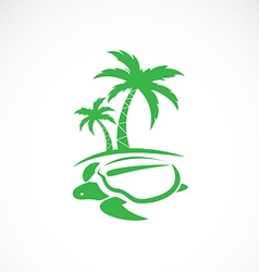 image an palms tree and turtles vector image