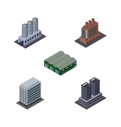 Isometric building set of tower water storage vector