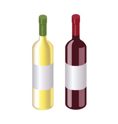Isometric red and white wine bottles isolated on vector