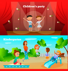 Kindergarten characters compositions vector