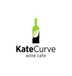 leaf wine bottle vector image
