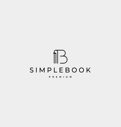 Letter b book read logo design vector