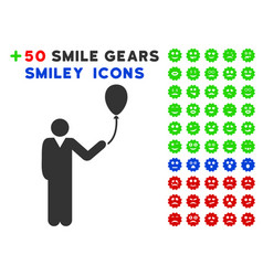 man with holiday balloon icon with bonus avatar vector image
