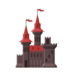Medieval castle stone fortress with red flags vector