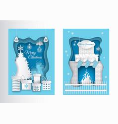 Merry christmas postcard paper cut pine fireplace vector