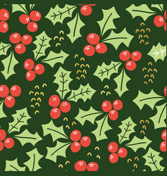 misteltoe seamless pattern green background vector image