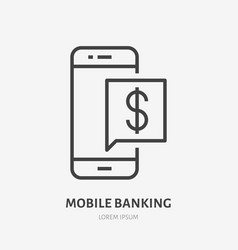 mobile phone with money notification flat line vector image