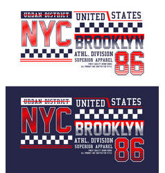 nyc brooklyn 86 typography sport t-shirt graphics vector image