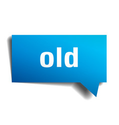 Old blue 3d speech bubble vector