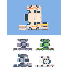 paper craft car vehicles template from glue vector image