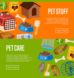 Pet care poster in cartoon style vector