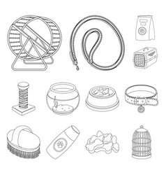 Pet shop outline icons in set collection for vector