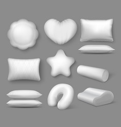 Realistic white pillows 3d round soft cushions vector