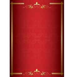 Red elegant card with gold decorations vector