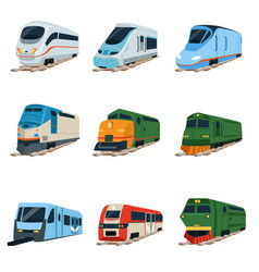 Retro and modern trains locomotive set railway vector