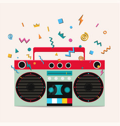 Retro stereo cassette player vector