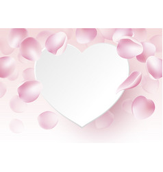 rose petals falling with blank paper heart vector image