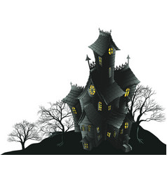 scary haunted house and trees vector image