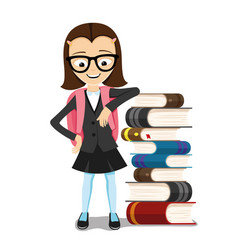 Schoolgirl with books vector