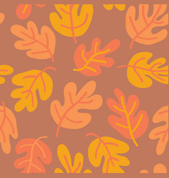 seamless pattern autumn oak leaves vector image