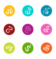 Serpent icons set flat style vector