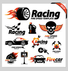 Set car racing logotipe symbols vector