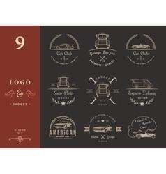 Set of vintage badges car club and garage vector