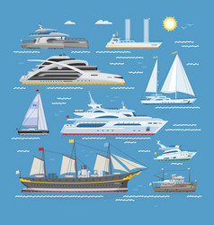 ships boats or cruise travelling in ocean vector image