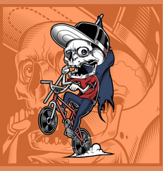 Skull riding a bicycle holding flag vector