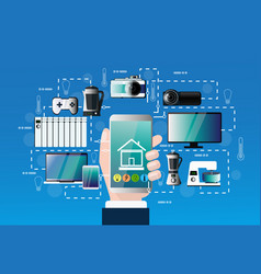 smart home control system hand hold smartphone vector image