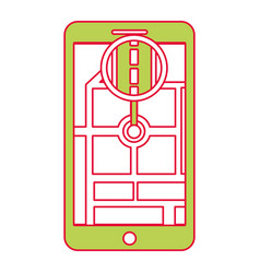 smartphone gps navigation map and pin road vector image