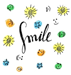 Smile hand drawn motivational poster vector image