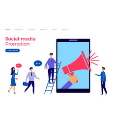 social media promotion landing page vector image