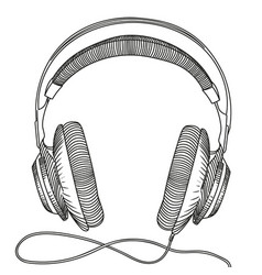 studio headphones with cable for listening vector image
