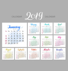 stylish menology 2019 january separately dark vector image