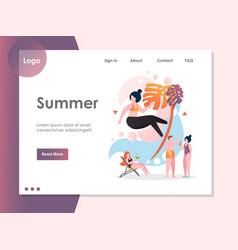 summer website landing page design template vector image