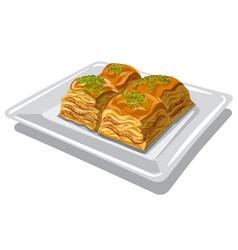 Sweet food baklava vector