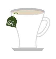 tea cup with bag isolated icon design vector image