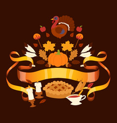 thanksgiving holiday banner with traditional vector image