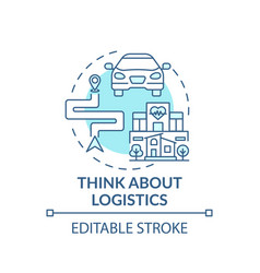 think about logistics blue concept icon vector image