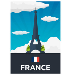 Travel poster to france eiffel tower flat vector