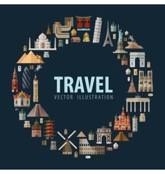 travel vacation a set colored icons vector image