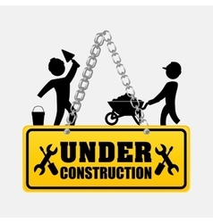Under construction men workers walking helmet vector